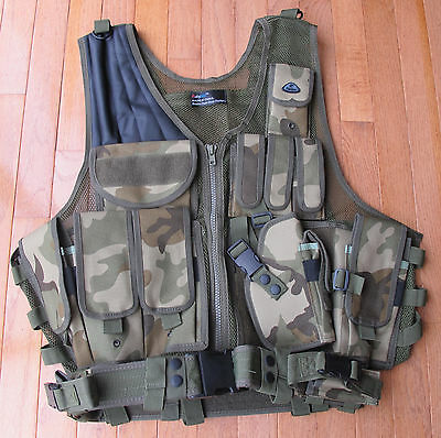 Law Enforcement Deluxe Tactical Vest with Holster, Pouches, Utility Belt Camo