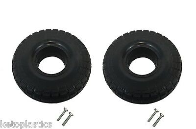 "Pair Of 10"" Puncture Proof Tyres 4.10/3.50 - 4 - Self Assembly Requred"