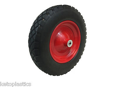 "14"" Metal Pu Puncture Proof Wheelbarrow Wheel 3.50/8 With 16Mm Roller Bearings"