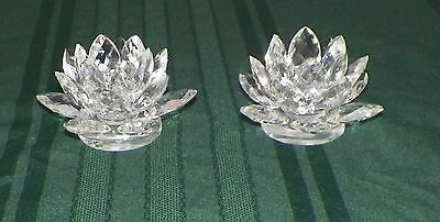 "2- Shannon Crystal By Godinger Lotus Prism Candle Stick Holders 5 1/2"" x 3"""