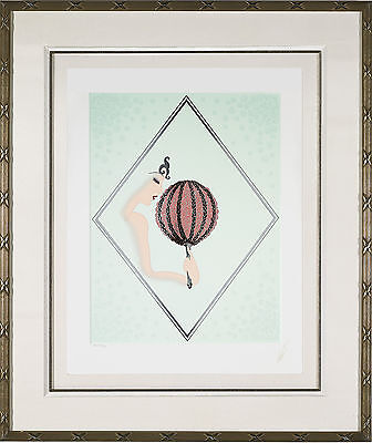 "Erte - ""Rose Fan"", Serigraph on Paper, Framed"