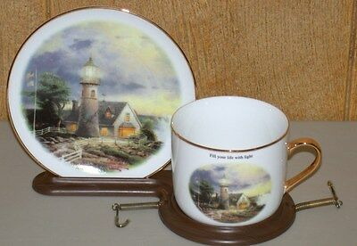 "Thomas Kinkaid ""A Light In The Storm"" Decorative Cup & Plate w/ Stand"