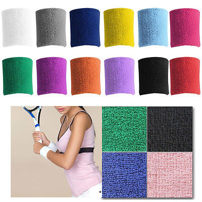 Unisex Terry Cloth Cotton Sweatband Sports Wrist Tennis Yoga Sweat WristBand New