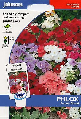 Johnsons Seeds - Pictorial Pack - Flower - Phlox Beauty Mixed - 250 Seeds