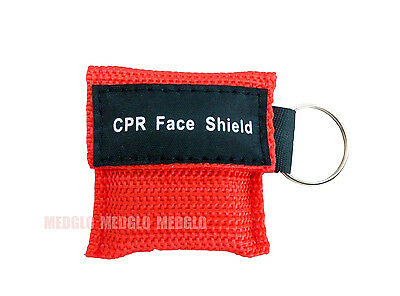 1 pcs CPR MASK WITH KEYCHAIN CPR FACE SHIELD POCKET AED TRAINING RED