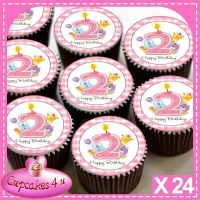 Other Baking Accessories Kitchen, Dining & Bar 30 X Rosa 18° Topper Per Cupcake Edibili Happy Birthday Carta Di Riso 1540