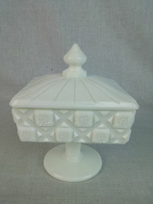 "Westmoreland Milk Glass Old Quilt Pattern square Covered Candy Dish 6 1/2"" tall"