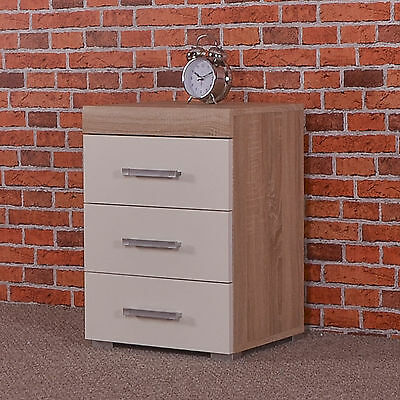 3 Drawer White & Sonoma Oak Bedside Cabinet Table 3 Draw Chest Bedroom Furniture