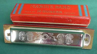 Antique M Hohner Harmonica Marine Band Key Of C + Original Box Germany