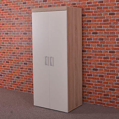 2 Door Double Wardrobe in White & Sonoma Oak Effect - Bedroom Furniture Cupboard