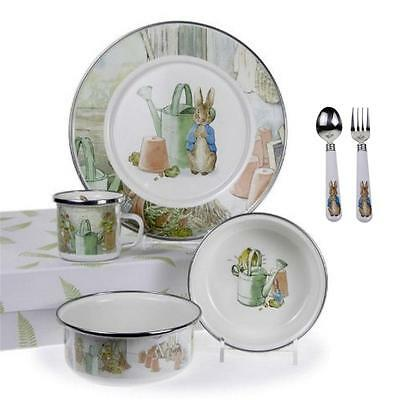 Golden Peter Rabbit Watering Can Plate Bowl Cup Flatware Baby Feeding Gift Set