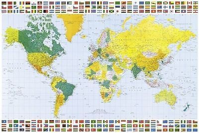(Laminated) World Map With Flags Poster (61X91Cm) Large Educational Picture Art