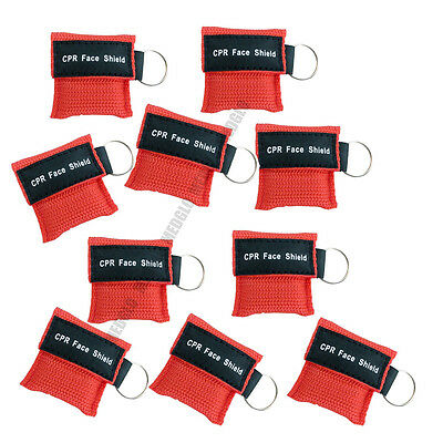 50 pcs CPR MASK WITH KEYCHAIN CPR FACE SHIELD AED TRAINING RED FIRST AID