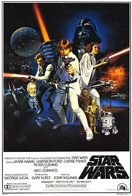 """STAR WARS  A New Hope - 27"""" x 40"""" Movie Poster  B 1977"""