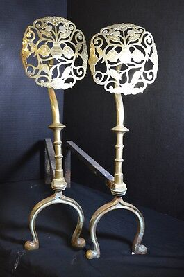 Antique Brass and Wrought Iron Andirons