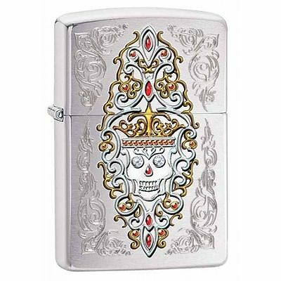 Zippo Windproof Day Of The Dead Jeweled Skull Lighter, 28794, New In Box