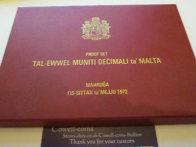 1972 MALTA - 1st OFFICIAL PROOF SET MADE BY ROYAL MINT 8 PROOF COINS IN CASE