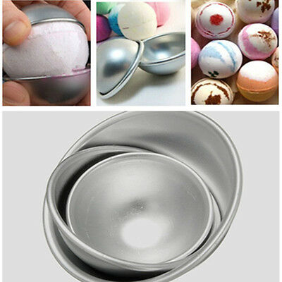3 Sizes 3D Aluminum Ball Sphere Bath Bomb Cake Pan Tin Baking Pastry Mould 2Pcs