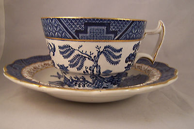 Teacup  Cup & Saucer REAL OLD WILLOW Booths England  Set  gold trim