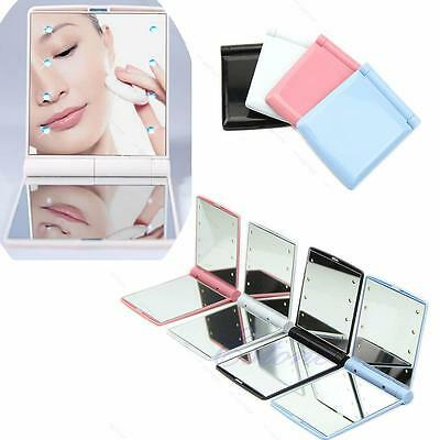 Portable Makeup Cosmetic Folding Compact Pocket Mirror with 8 LED Lights #A Lamp