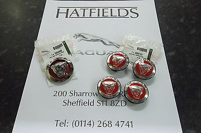 Genuine Jaguar Xf & Xj New Style Red Grille Badge(8.5Cm) And Red Centre Caps(X4)