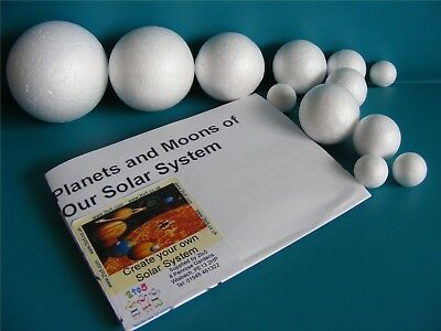 SOLAR SYSTEM SPHERES ~ 12 Mixed Sized Polystyrene Modelling Balls 2cm to 7cm