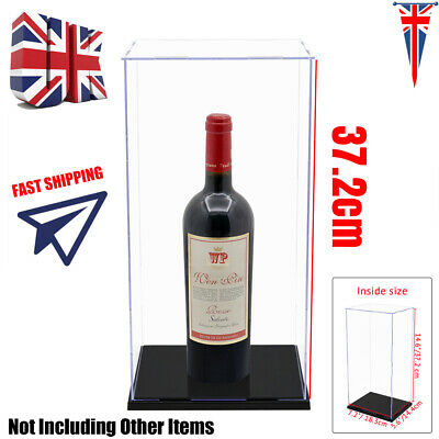UK 37cm H Acrylic Display Box Easy Self-Assembly Big Case Plastic Base Dustproof