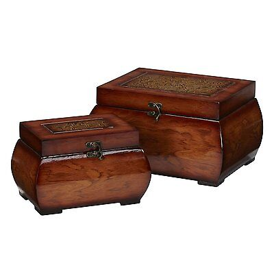 Nearly Natural 0527 Lacquered Wood Chests Set Decorative Box, Brown