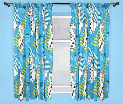 """DISNEY FROZEN OLAF CHILLIN' CURTAINS 66"""" x 72"""" INCH DROP BOYS AND GIRLS BEDROOM"""