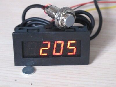 Digital RED LED Tachometer RPM Speed Meter+Hall Proximity Switch Sensor NPN 12v