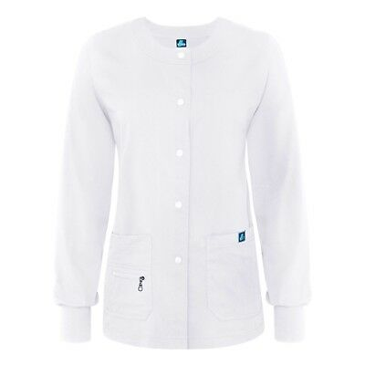 Adar Women Jr Fit Multi Pocket Snap Front Medical Nursing Warm-Up Scrub Jacket