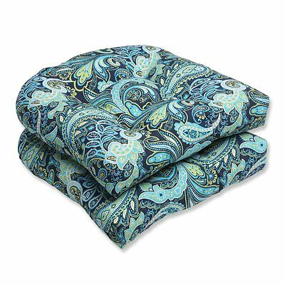 Pillow Perfect 543802 Outdoor Pretty Paisley Wicker Seat Cushion (Set of 2)