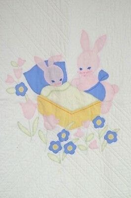 Darling Vintage Hand Made White Quilt With Rabbits Pp834