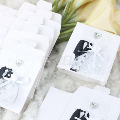 12pcs White Paper Lace Dress Tuxedo Candy Gift Boxes Bags Wedding Party Favors