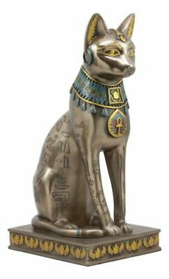 Ancient Egyptian Large Bronze Finish Bastet Cat Goddess on Pedestal Figurine