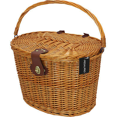 PedalPro Classic Wicker Bicycle Basket With Lid & Handle Bike Shopping/Picnic