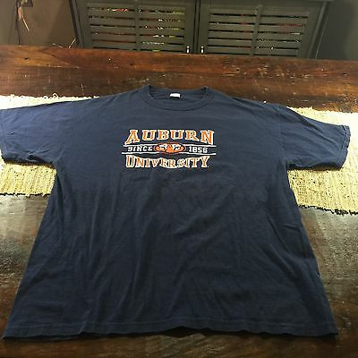 Mens Auburn Tigers Navy T Shirt Sz Large Russell Athletics 100% Cotton