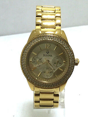 Women's Bulova 97N102 Gold Tone Stainless Multi-Function Crystal Bracelet Watch
