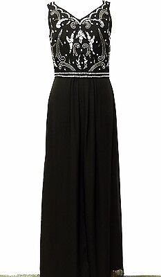NEW BLACK Maxi Dress Gem Sequin Embellished Bridesmaid Evening Party Prom Gown