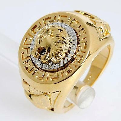 Vintage Lion Head Eagle Rings Yellow Gold Plated Biker Men's Animal Band Sz 8-12