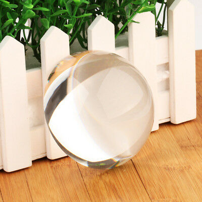 Vintage 80MM Clear Crystal Ball Paperweight Half Sphere MAGNIFYING Glass Decor