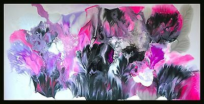 Purple silver pink Hand Painted Seascape Abstract Canvas Painting Original Art