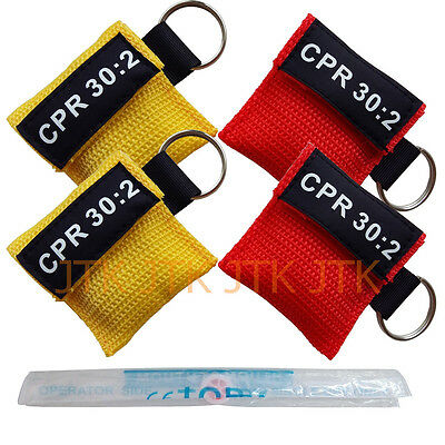 4Pcs Cpr Mask With Keychain Cpr Face Shield Aed Yellow & Red Pouch Cpr 30:2 Aed