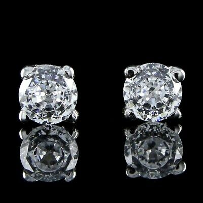 2.00CT VVS Platinum Over 14K W Gold Round Diamond Ideal Cut Studs CVD Coated