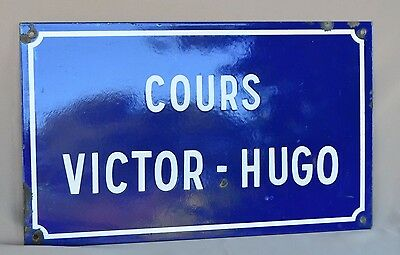 French LARGE Antique Enamel Street Sign Plaque Victor Hugo Avenue Cours