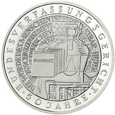 Germany 10 DM Silver 2001 B.U.  50 years Federal Constitutional Court in Capsule