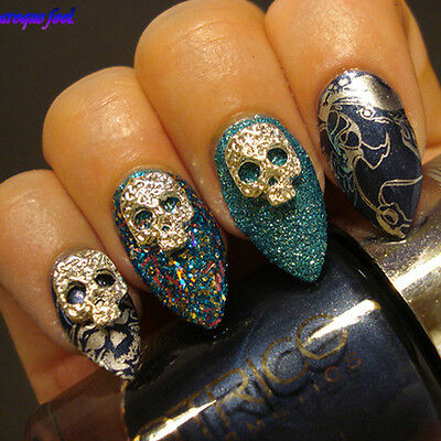 5Pcs Dazzling Skull Mask Design Studs 3D Decoration DIY Nail Art Charms