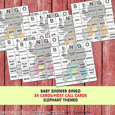 Baby Shower Game - Baby Elephant Jungle themed Bingo - 24 cards - 3 designs
