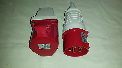 32 amp plug or wall mount sockets 5 PIN IP44 3 Phase Neutral & earth 415 volt