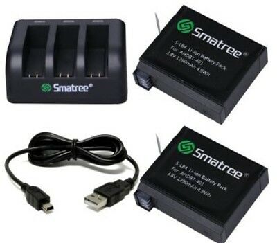Smatree® Replacement battery (2-Pack) and 3-Channel charger for Gopro Hero 4